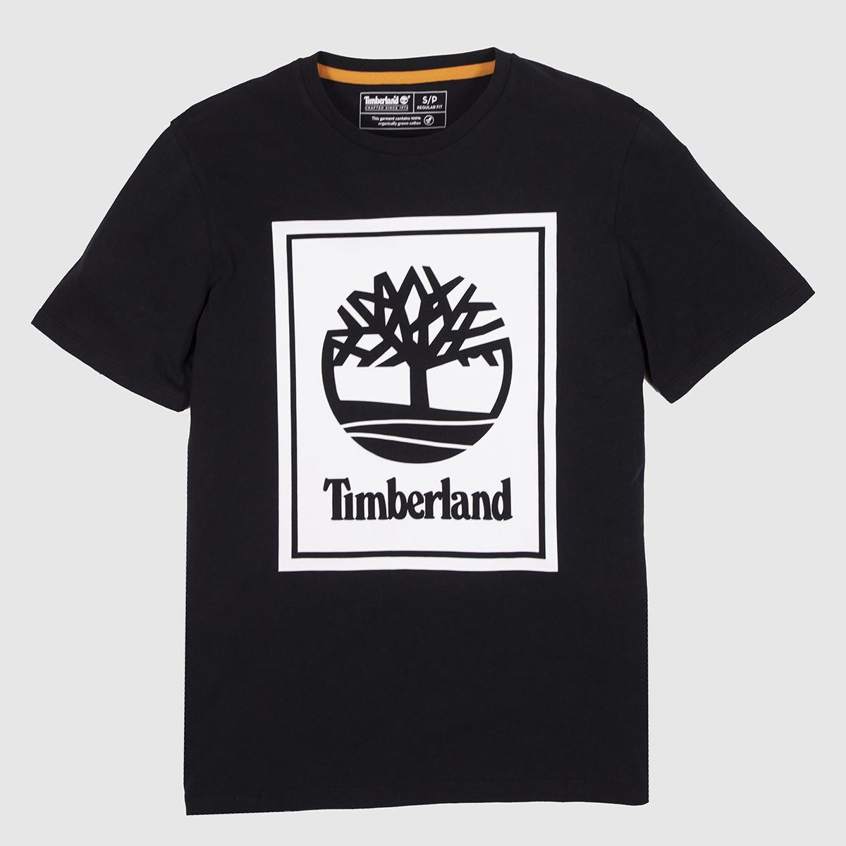 Timberland Black & White Stack Logo Tee