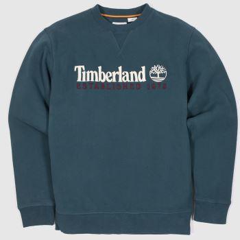 Timberland Turquoise Heritage Crew Neck Sweat Mens