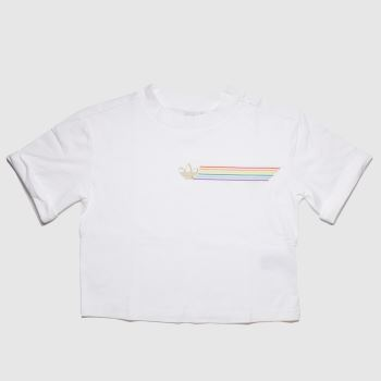 Adidas White Pride Linear Cropped Tee Womens