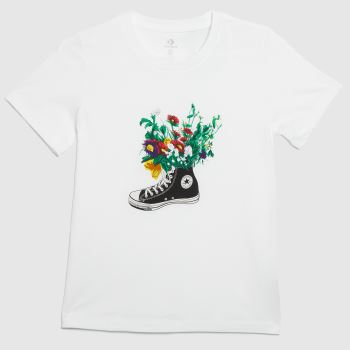 Converse White In Bloom Graphic Tee Womens