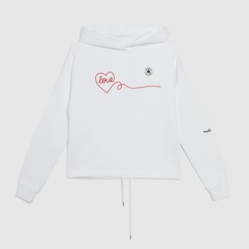 Converse White & Red Love Hoodie Womens