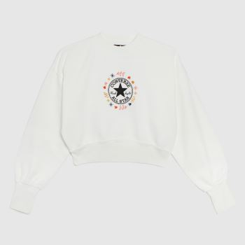 Converse White & Red Wander Crew Womens
