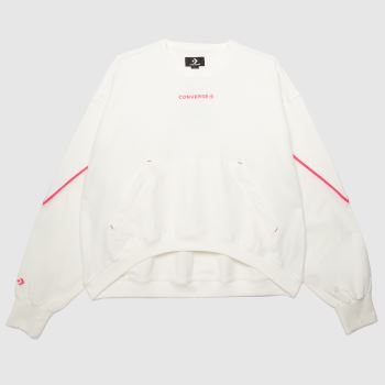 Converse White & Pink Mixed Material Crew Womens