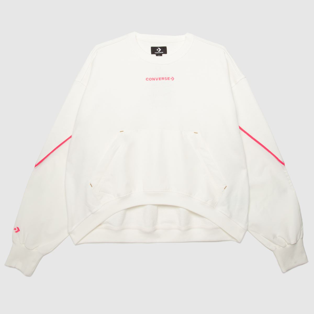 Converse White & Pink Mixed Material Crew