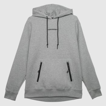 Converse Grey Court Zip Pocket Hoodie Mens
