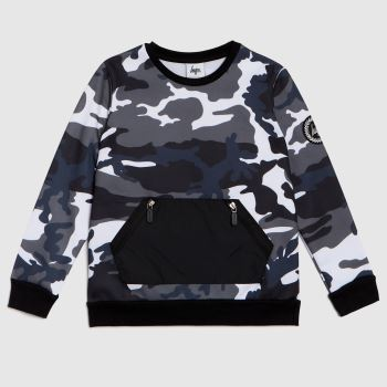 Hype Black & White Boys Crew Civil Camo Boys