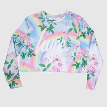 Hype Multi Girls Crop Crew Neck Girls