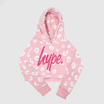 Hype Pale Pink Girls Crop Pullover Hood Girls#