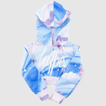 Hype Multi Girls Crop Pullover Hood Girls