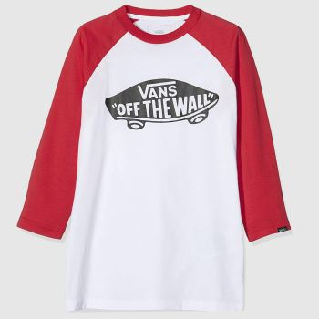 Vans White & Red Off The Wall Raglan Boys