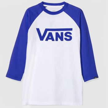 Vans White & Blue Boys Classic Raglan Tee c2namevalue::Boys