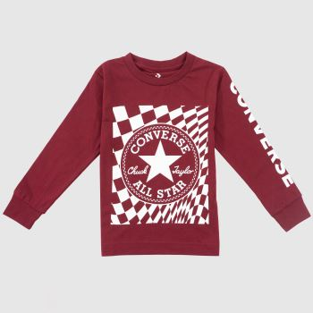 Converse Red Kids L/s Chuck Patch Tee Boys