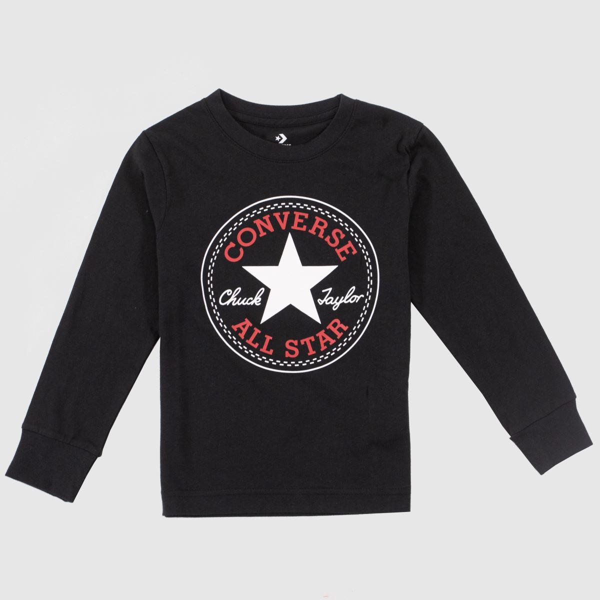 Converse Black & Red Kids L/s Chuck Patch Tee