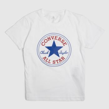 Converse White & Navy Kids Chuck Patch Tee Boys
