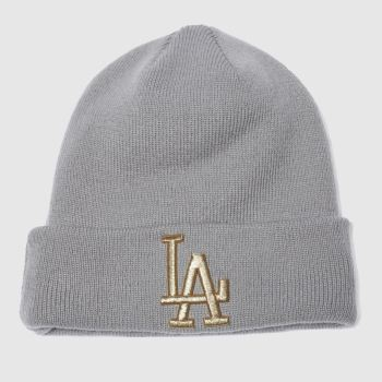 New Era Grey GOLDEN KNIT BEANIE KIDS LA Caps and Hats