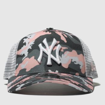 New Era Light Grey Kids Ny Yankee Trucker Caps and Hats