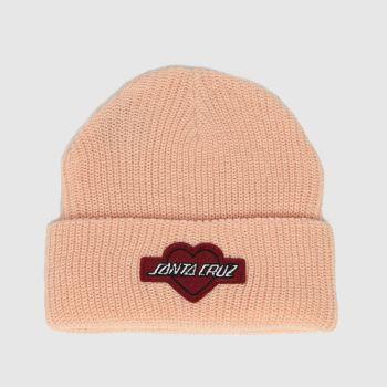 Santa Cruz Pale Pink Heart Strip Beanie Caps and Hats