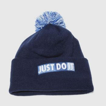Nike Blue Y Nk Beanie Pom Caps and Hats