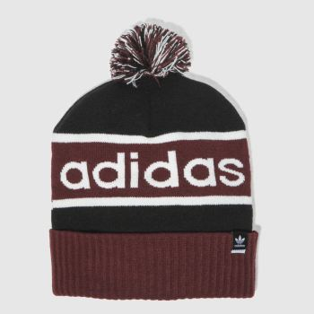 Adidas Black & Burgundy POMPOM BEANIE Caps and Hats