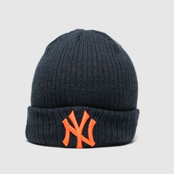 New Era Navy & Orange Kids Ny Utility Cuff Knit Caps and Hats