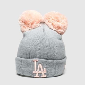 New Era Light Grey Kids La Double Pom Knit Caps and Hats
