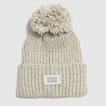 accessories UGG light grey chunky knit beanie w pom