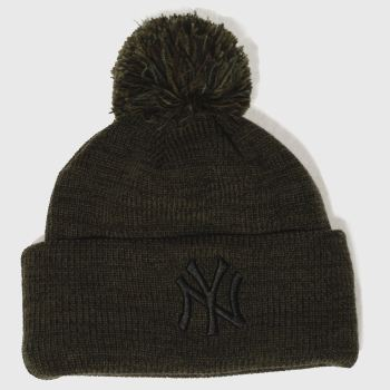 New Era Khaki Marl Bobble Knit Caps and Hats