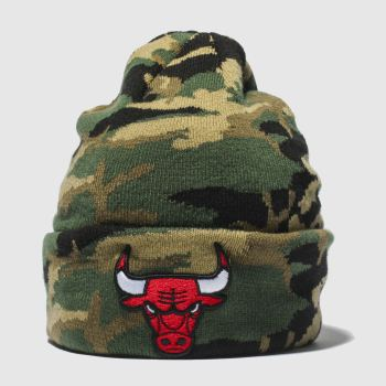 New Era Khaki Camo Knit Chicago Bulls Caps and Hats