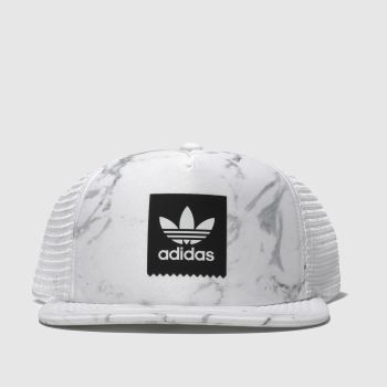 Adidas White Trucker Marble Caps and Hats