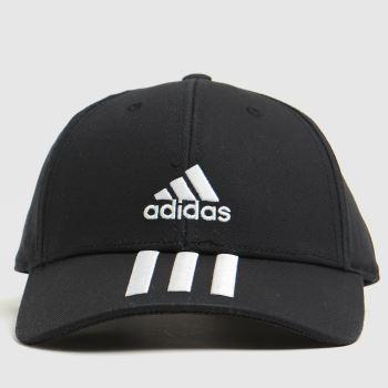 adidas Black & White 3 Stripe Baseball Cap Caps and Hats