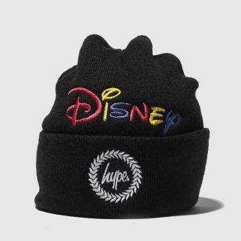 Hype Black Disney Dual Logo Beanie Caps and Hats