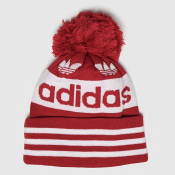 Adidas White & Red Jacquard Pom Adults Hats