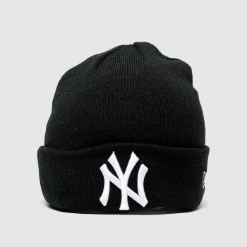 New Era Black & White Kids Essenital Cuff Knit Ny Caps and Hats