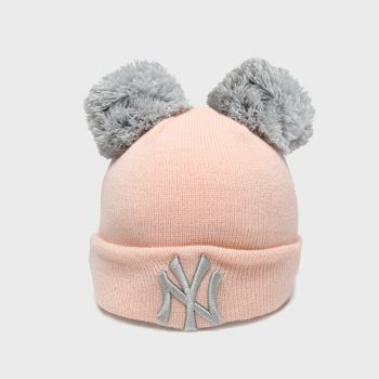 New Era Pink Kids Double Pom Knit Ny c2namevalue::Caps and Hats
