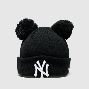 New Era Black & White Kids Double Pom Knit Ny Caps and Hats