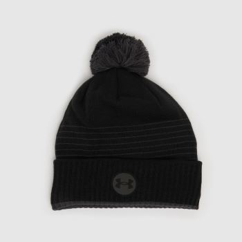 Under Armour Black Ua Halftime Fleece Beanie Caps and Hats