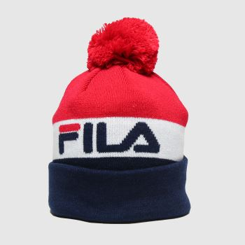 Fila Navy & Red Kato Bobble Beanie Caps and Hats