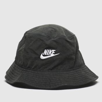 Nike Black & White Bucket Hat Washed Caps and Hats