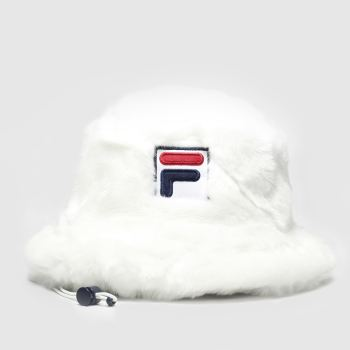 Fila White DORA FAUX FUR BUCKET HAT Adults Hats