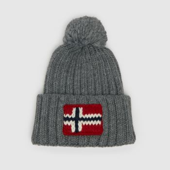 NAPAPIJRI Grey Semiury Knit Adults Hats