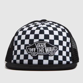 Vans White & Black Kids Cl Patch Trucker Plu Caps and Hats