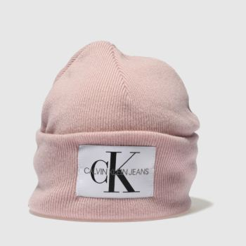 Calvin Klein Pink Jeans Nitted Beanie Caps and Hats
