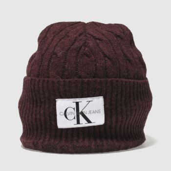 Calvin Klein Burgundy JEANS CABLE BEANIE Adults Hats