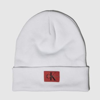 Calvin Klein White Jeans Monogram Beanie Caps and Hats