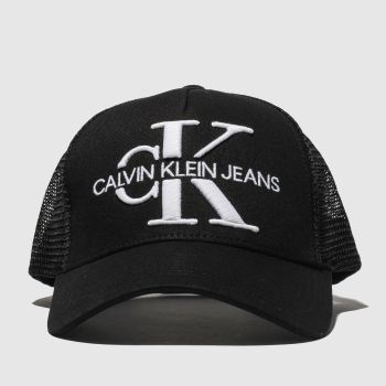Calvin Klein Black Jeans Monogram Mesh Trucker Caps and Hats