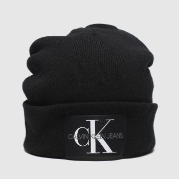 Calvin Klein Black Basic Knitted Beanie Caps and Hats