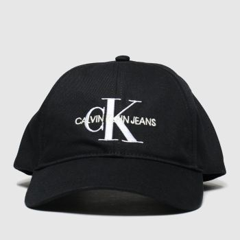 Calvin Klein Black Ck Monogram Cap Caps and Hats
