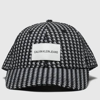 Calvin Klein Black & White Ck Allover Mono Cap Caps and Hats