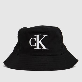 CALVIN KLEIN Black & White Mesh Mono Bucket Caps and Hats