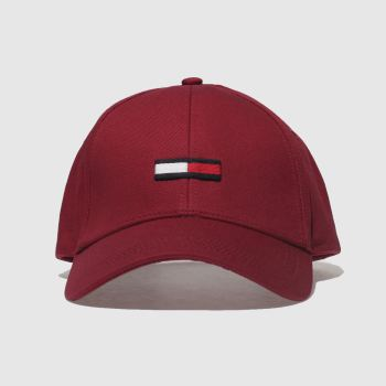 Tommy Hilfiger Burgundy Tj Flag Cap Caps and Hats
